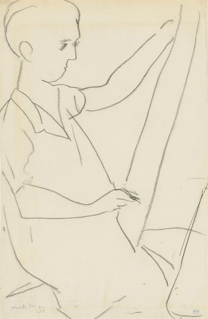 Henri Matisse-Femme Dessinant-1951
