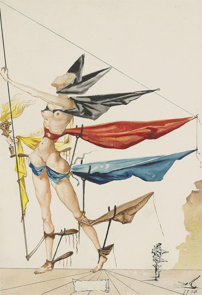 Salvador Dali-Projet De Costume De Hymen Pour La Piece De Theatre As You Like It De William Shakespeare-1948