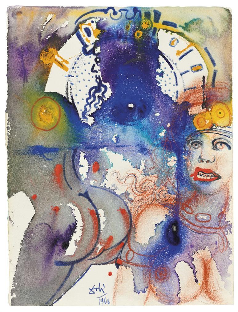 Salvador Dali-Figure Centrale Du Roi Avec Une Femme De Dos-1966