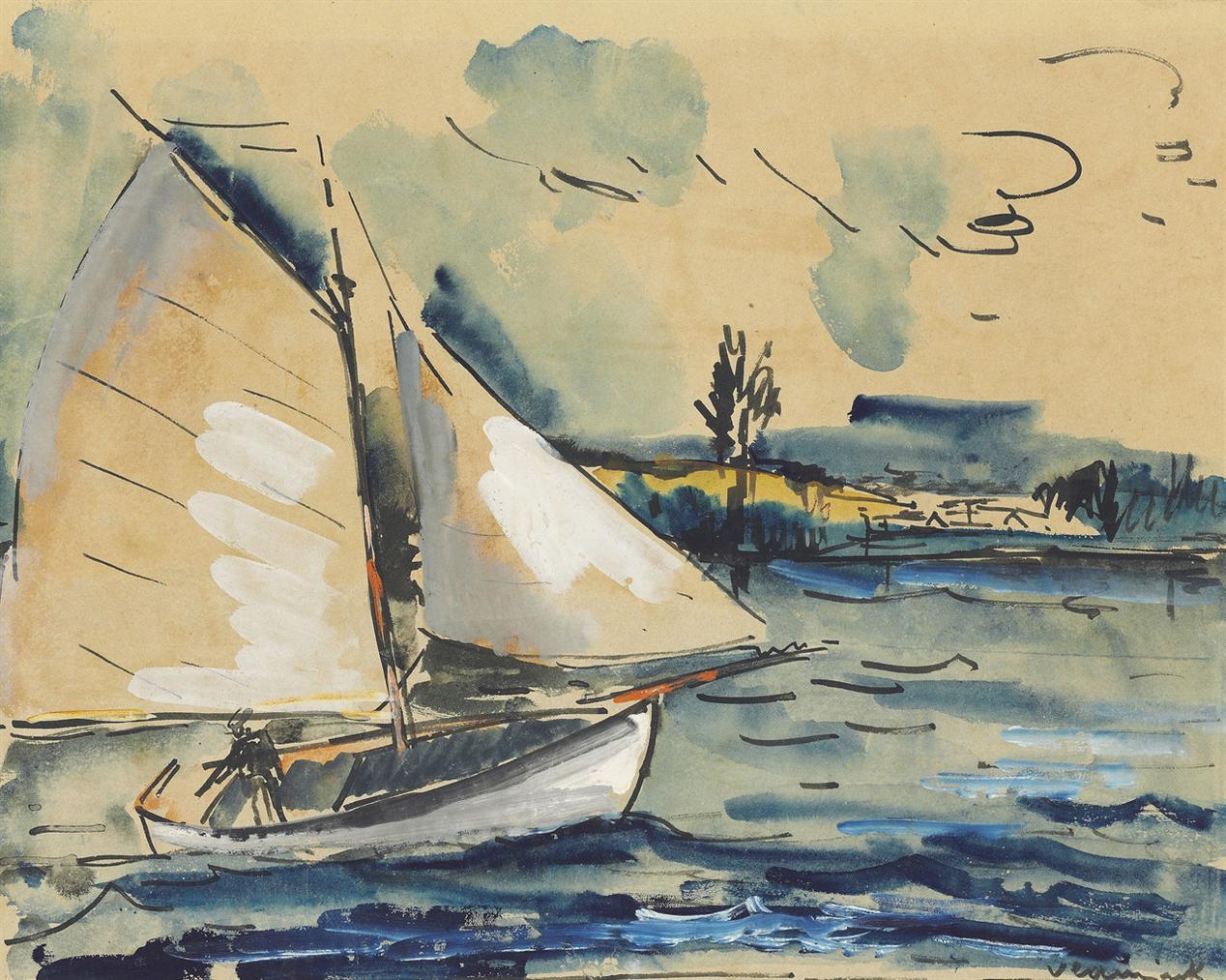 Maurice de Vlaminck-Paysage Au Bateau-1920