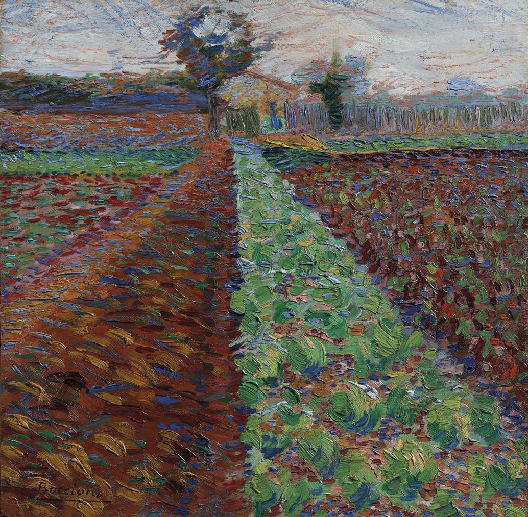 Umberto Boccioni-Campo Con Alberi-1908