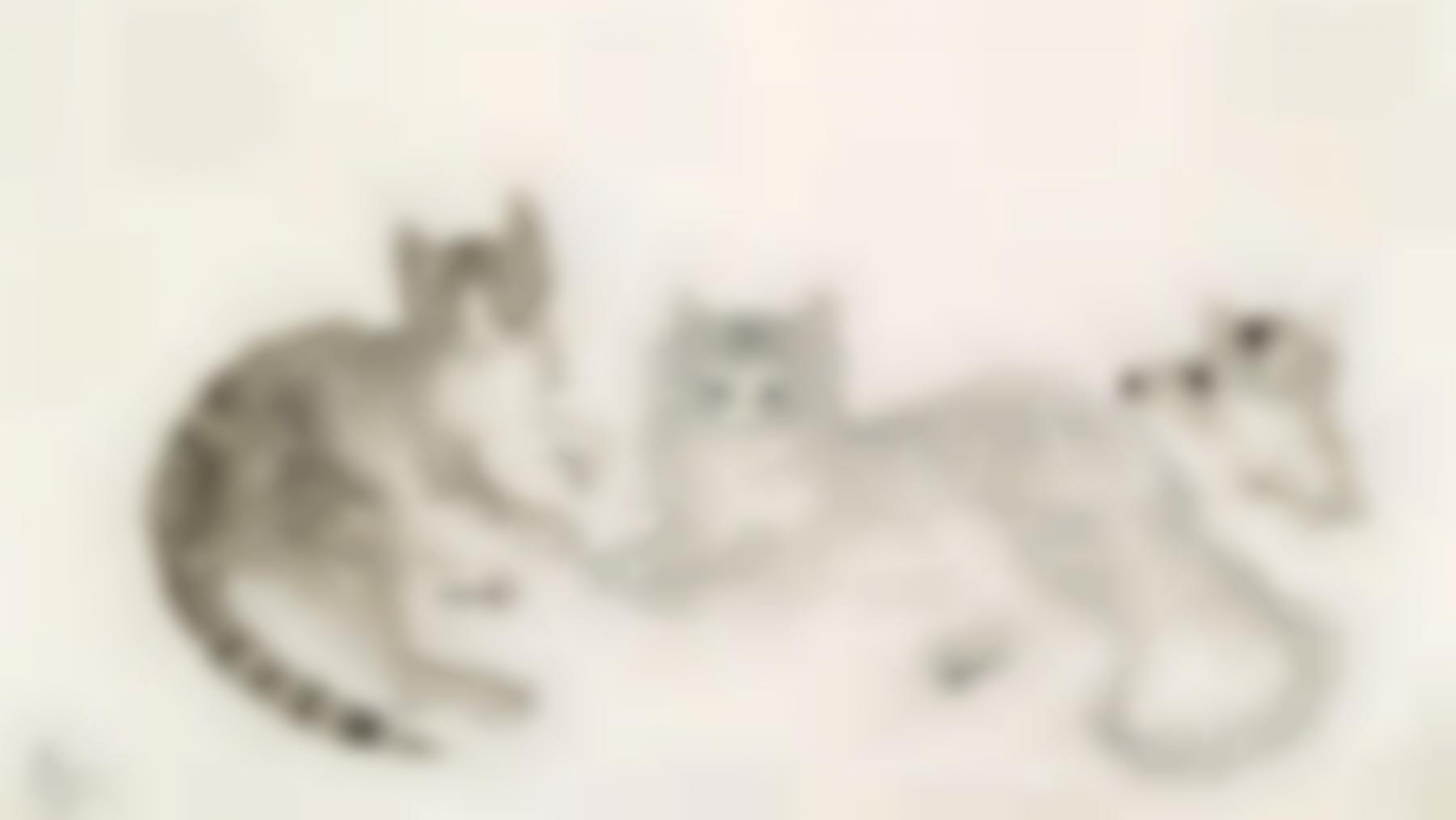 Tsuguharu Foujita-Chats Et Chaton-1940