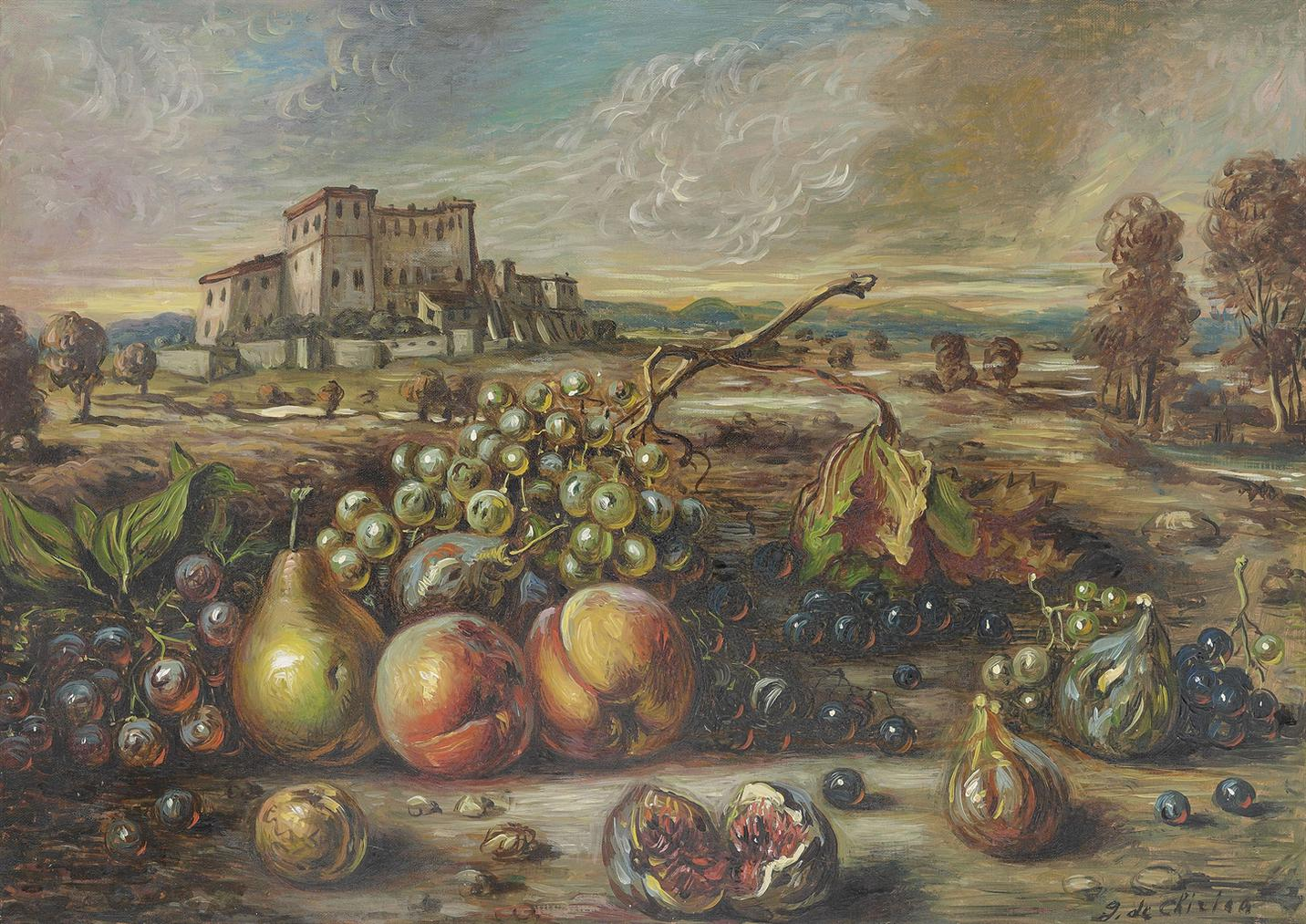 Giorgio de Chirico-Frutta In Un Paese-1956