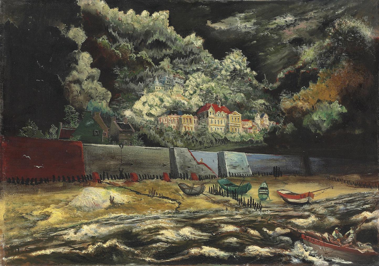 Franz Radziwill - Elblandschaft (Elbufer Bei Teufelsbruck)-1925