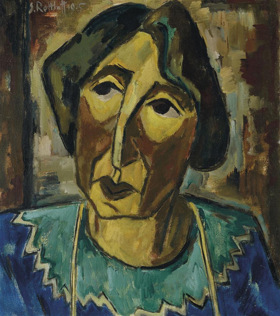 Karl Schmidt-Rottluff-Bildnis Rosa Schapire (Recto); Landschaftstudie (Verso)-1915