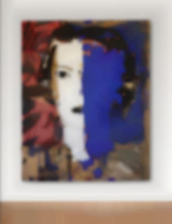 Manolo Valdes-Retrato En Azul Y Blanco-1999