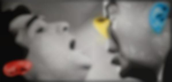 John Baldessari-Nose & Ears, Etc., Part Iii: Two Altered Persons (One With Yellow Nose)-2007