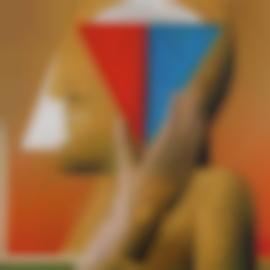 Horst Antes-Portrat Mit Blau Rotem Dreieck (Portrait With Red And Blue Triangle)-1971