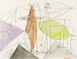 Pablo Picasso-Combat De Faune Et De Centaure-1946
