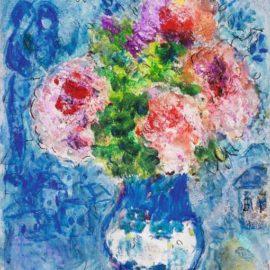 Marc Chagall-Bouquet Rose Sur Fond Bleu-1970