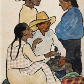 Diego Rivera-Grupo En El Mercado: Dos Hombres Y Dos Mujeres-1936