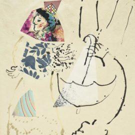 Marc Chagall-Danseuse-Ecuyere Et Homme Au Parapluie Inverse-1968