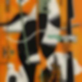 Fernand Leger-Nature Morte A La Pipe Sur Fond Orange-1928