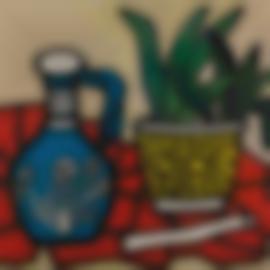 Fernand Leger-Un Vase Bleu, Un Tapis Rouge-1952