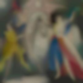 Marie Laurencin-Deux Danseuses Et Un Cavaliere Devant Un Pont