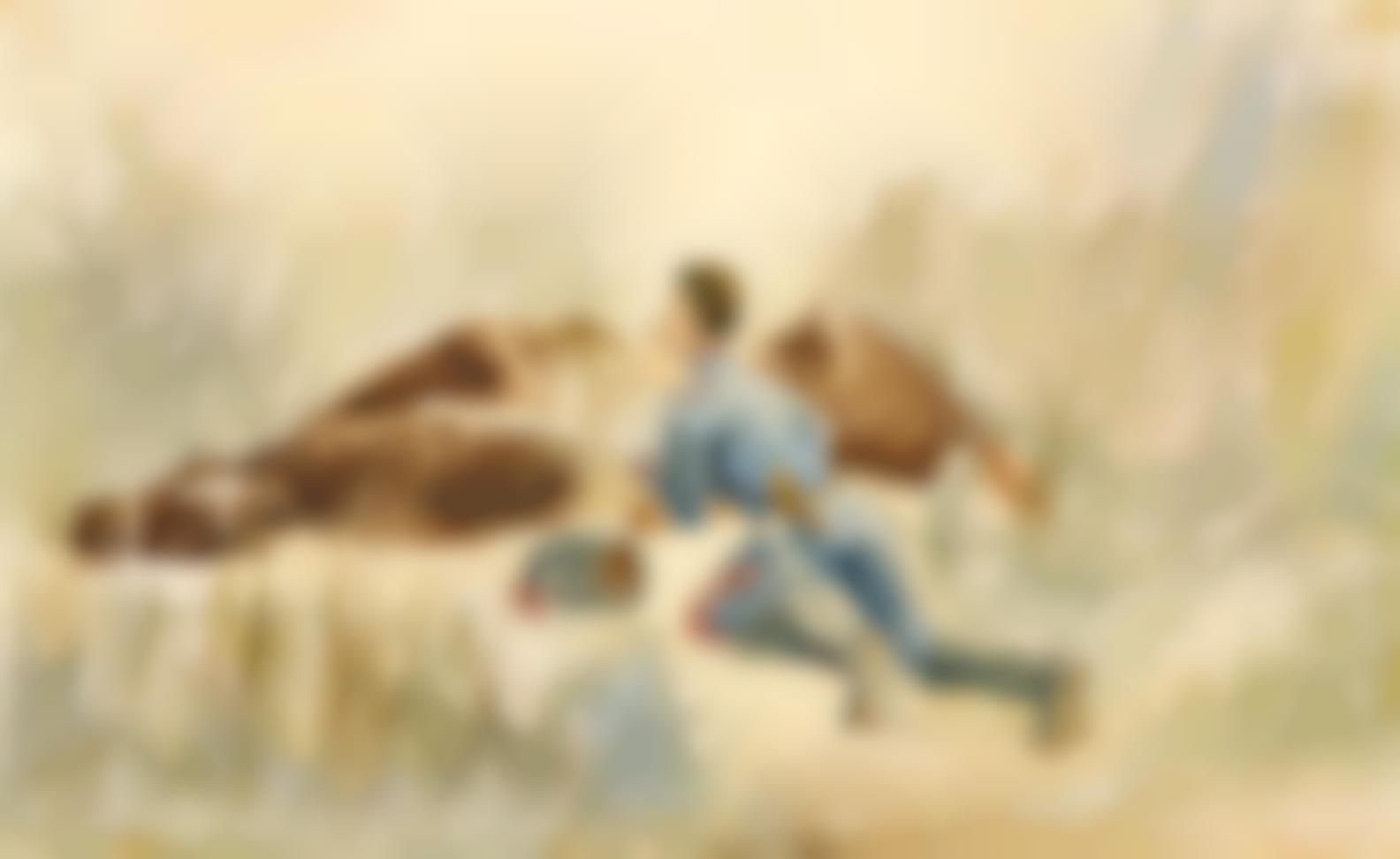 Henri de Toulouse-Lautrec-Manoeuvre De Cavalerie (Recto); Paysan Assis (Verso)-1881