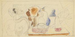 Le Corbusier-Femme En Buste, Bouteille Et Quatre Poissons