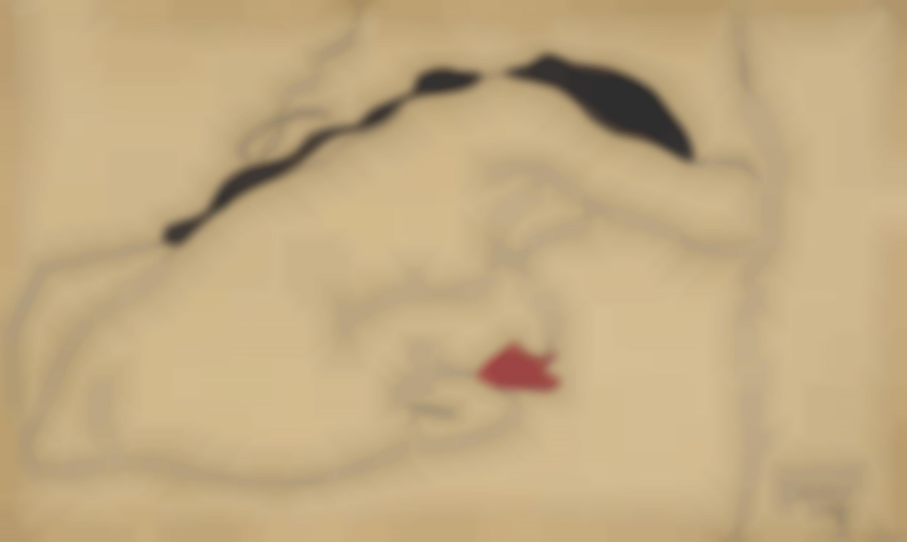 Egon Schiele-Gebeugt Sitzender Weiblicher Ruckenakt Mit Schwarzem Haar-1909