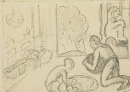 Paul Gauguin-Scene Dinterieur Tahitienne-1892