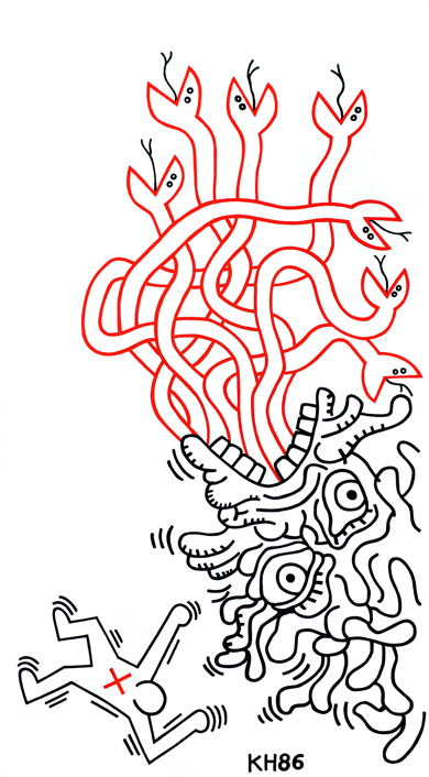 Lot 61 Keith Haring - Untitled, 1986 (103 x 53 cm)