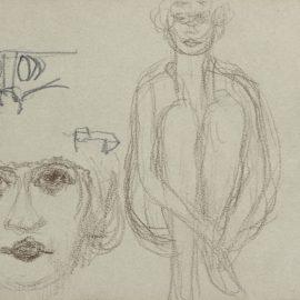 Pierre Bonnard-Etudes De Nu Assis Et Tete De Femme-1922