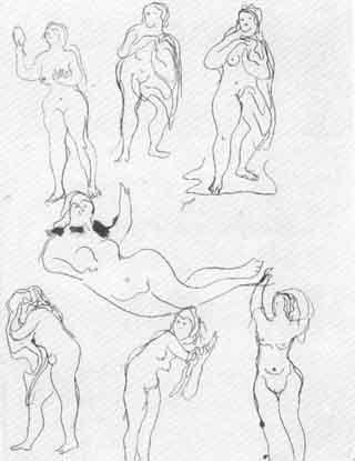 Lucio Fontana-Studi di sette figure femminili-1939