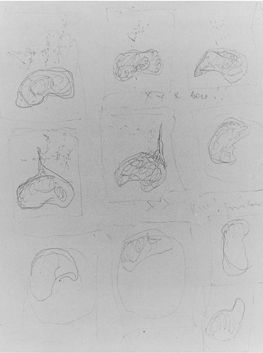 Lucio Fontana-Studi per Gessi-1957