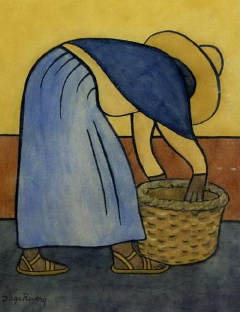 Diego Rivera-Campesina Agachandose-