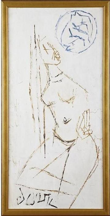 Maqbool Fida Husain-Untitled (Nude with Elephant)-
