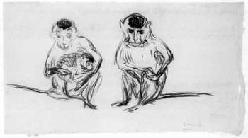 Edvard Munch-Affenfamilie (Ape Family)-1909