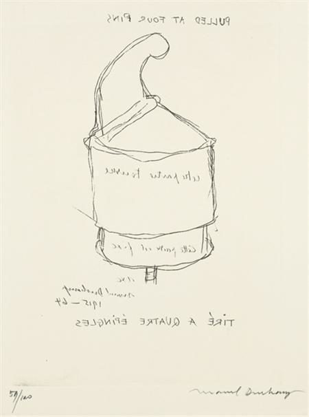 Marcel Duchamp-Pulled at four pins (Tire a quatre-epingles) (Schwarz 609)-1964