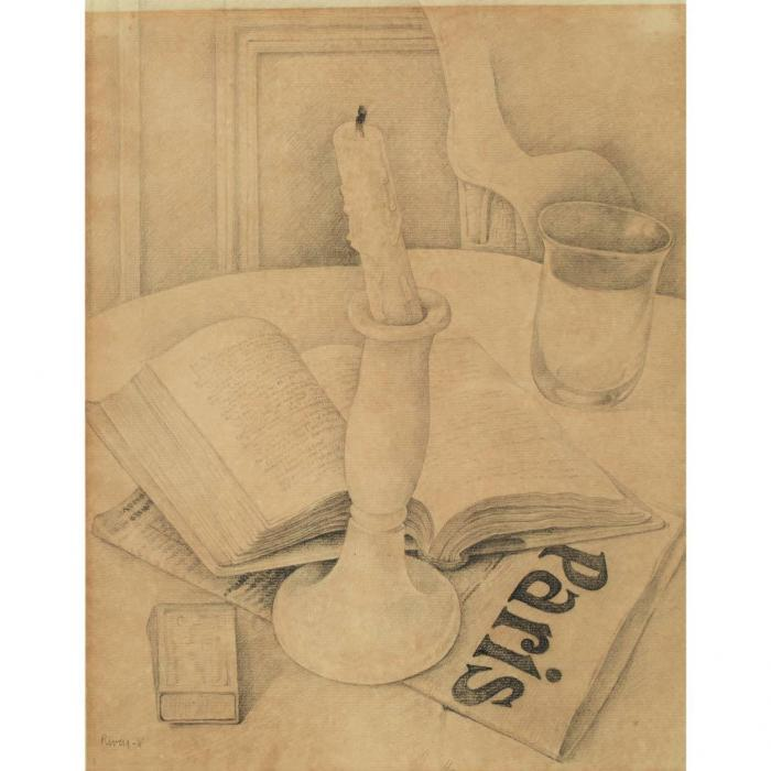 Diego Rivera-Still Life with a Book and Candle-1918