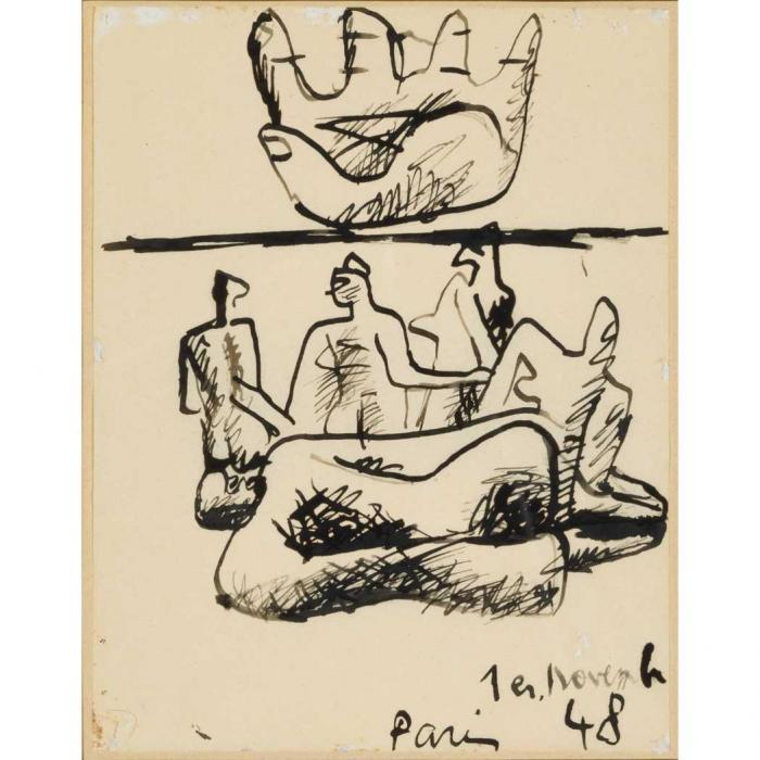 Le Corbusier-Upturned Hand and Figures-1948