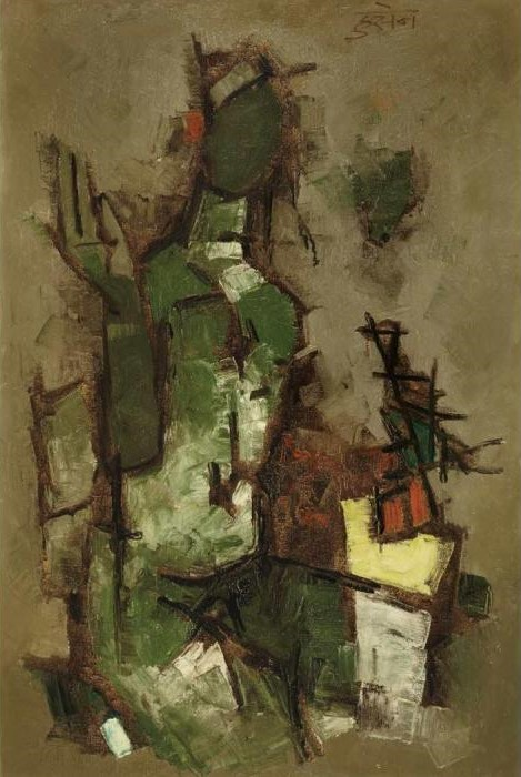 Maqbool Fida Husain-Untitled (Seated Figure)-1959