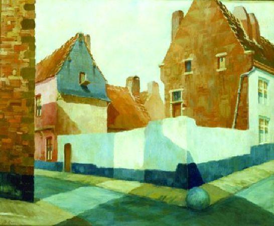 Diego Rivera-Street Corner in the Village of Vizcaya, Spain-