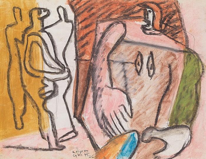 Le Corbusier-Femme a la grande main et trois personnages-1945