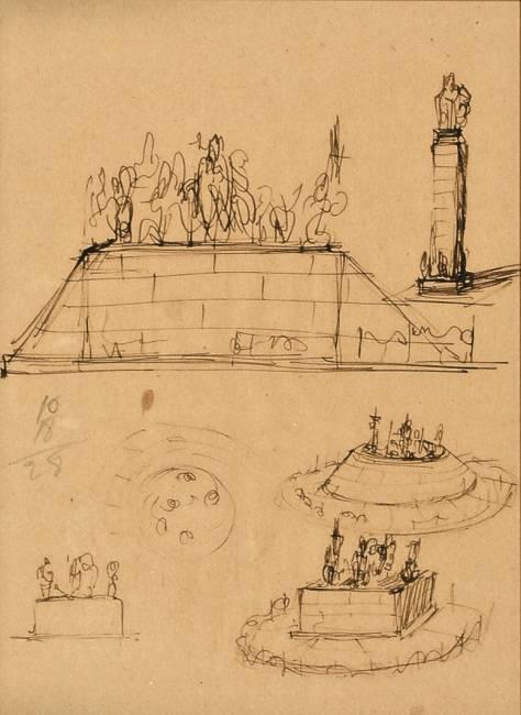 Lucio Fontana-Studi per monumenti-1942