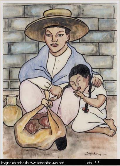 Diego Rivera-Padre e hija vendiendo pan-1941