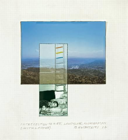 John Baldessari-Intersection Series, Landscape, anguished Man (with Ladder)-2002