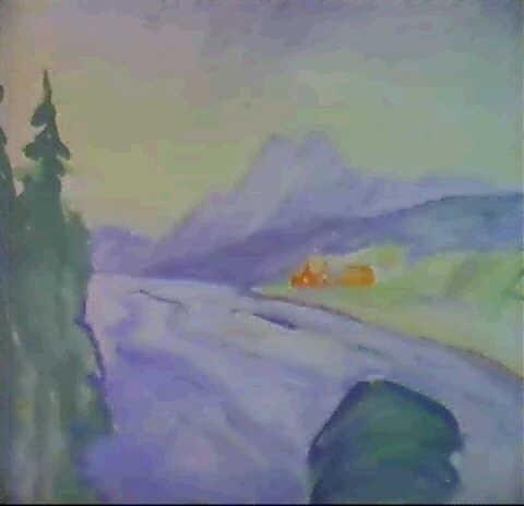 Edvard Munch-Berglandschaft zu Gespenster von Ibsen (Mountain landscape for Ghosts by Ibsen)-1906