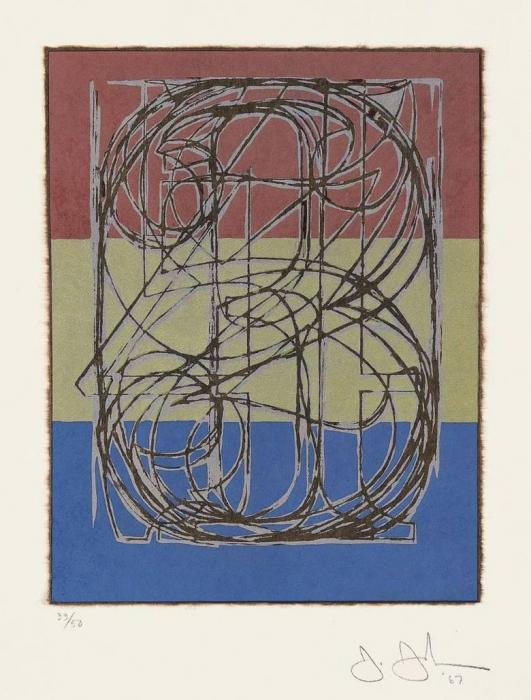 Jasper Johns-Silver Cicada 0 Through 9 (ulae 34)-1967