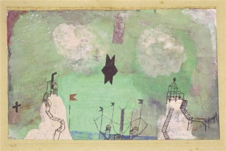 Paul Klee-Kustenlandschaft Mit 2 Aussichtsfelsen (Seascape With Two Outcrops With Black Towers)-1918
