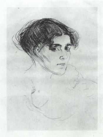 Edvard Munch-Kvinnehode / Frauenkopf / Portrait of a Woman's Head-1914