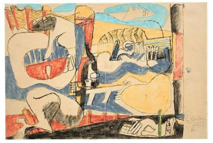 Le Corbusier-Ohne Titel (Komposition Mit Figuren)-1937