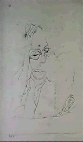 Paul Klee-Der Denkende Kunstler (Artist Thinking, Pensive Self Portrait)-1919