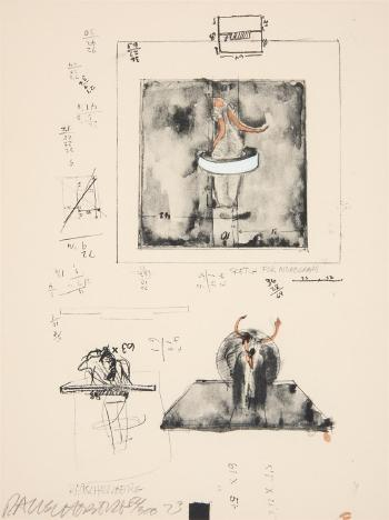 Robert Rauschenberg-Robert Rauschenberg - Sketch For Monogram (From New York Collection For Stockholm)-1973