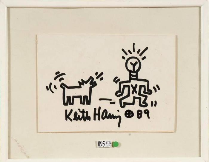 Keith Haring-Keith Haring - Homme et son chien-1989