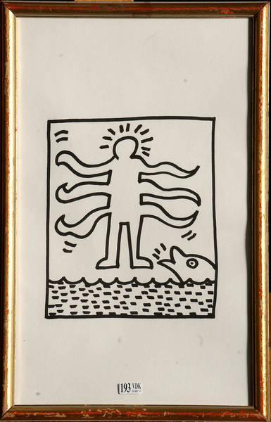 Keith Haring-Keith Haring - Personnage aux multiples bras et dauphin-1984