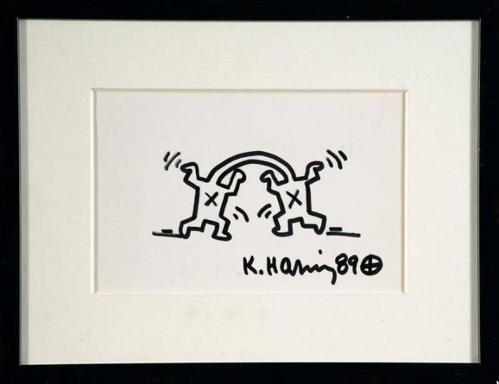 Keith Haring-Keith Haring - Deux personnages faisant des bonds (Two characters leaping)-1989