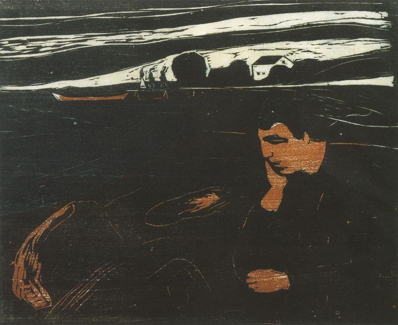 Edvard Munch-Melankoli - Aften / Melancoly - Evening-1901